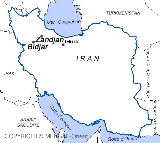 Map Bidjar Iran