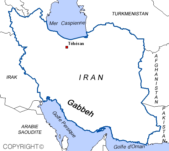 Map of Gabbeh Iran