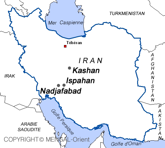 Map of Iran Ispahan, Nadjafabad, Kashan
