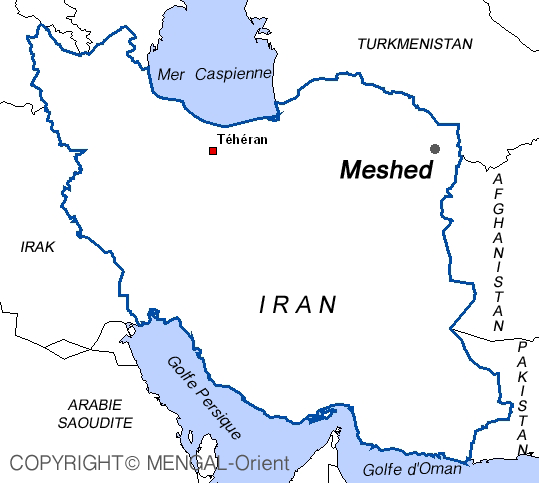 Map of Meshed Iran