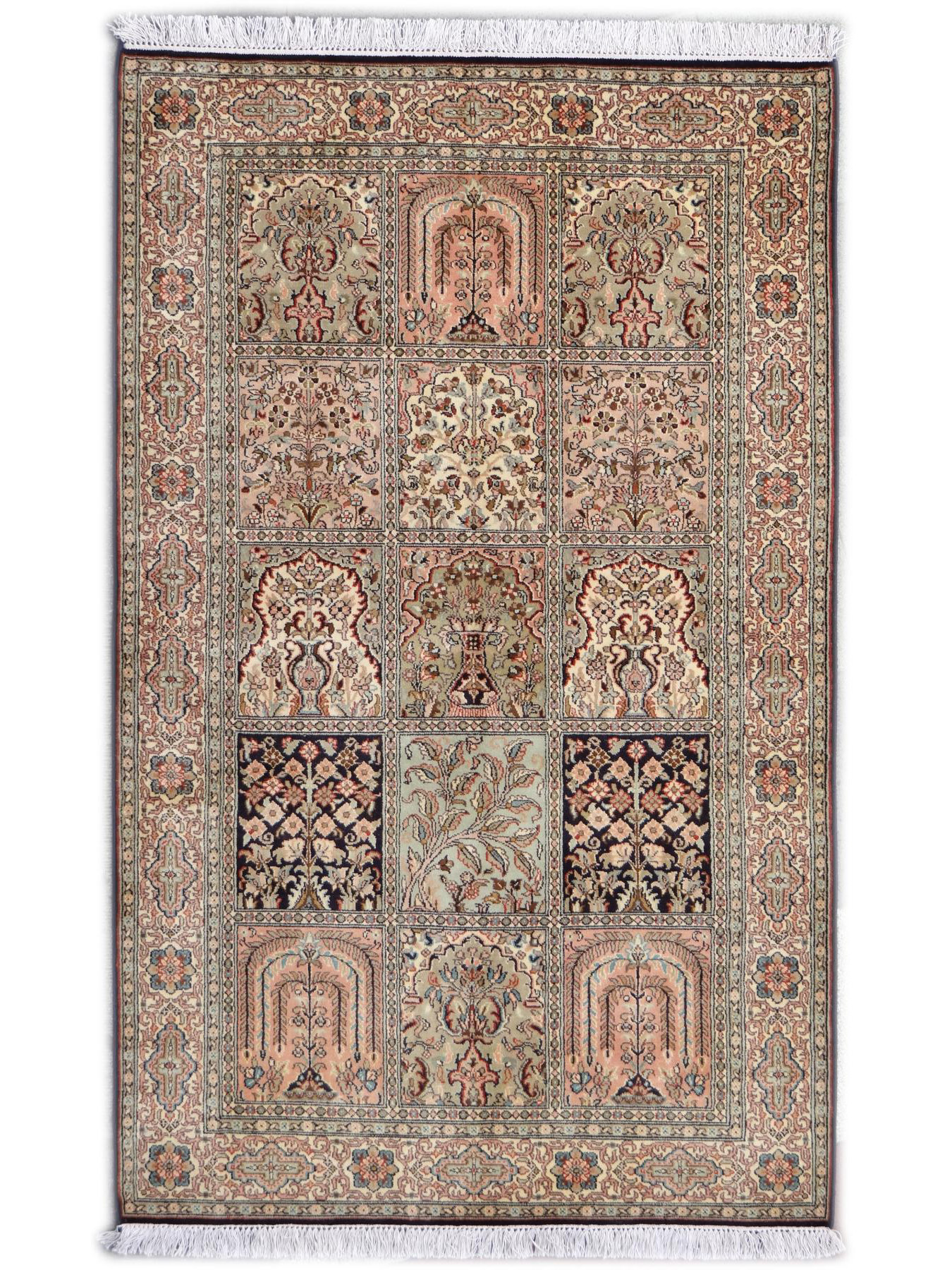 srinagar soie fin jardin tapis prestigieux n 2522 155x96cm. Black Bedroom Furniture Sets. Home Design Ideas