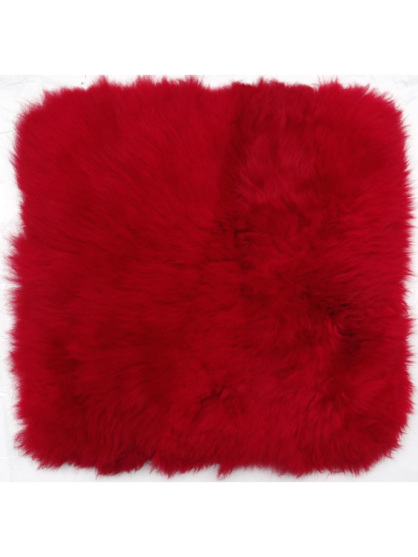 Coussins en peau de mouton - Caresse-coussin peau de mouton rouge