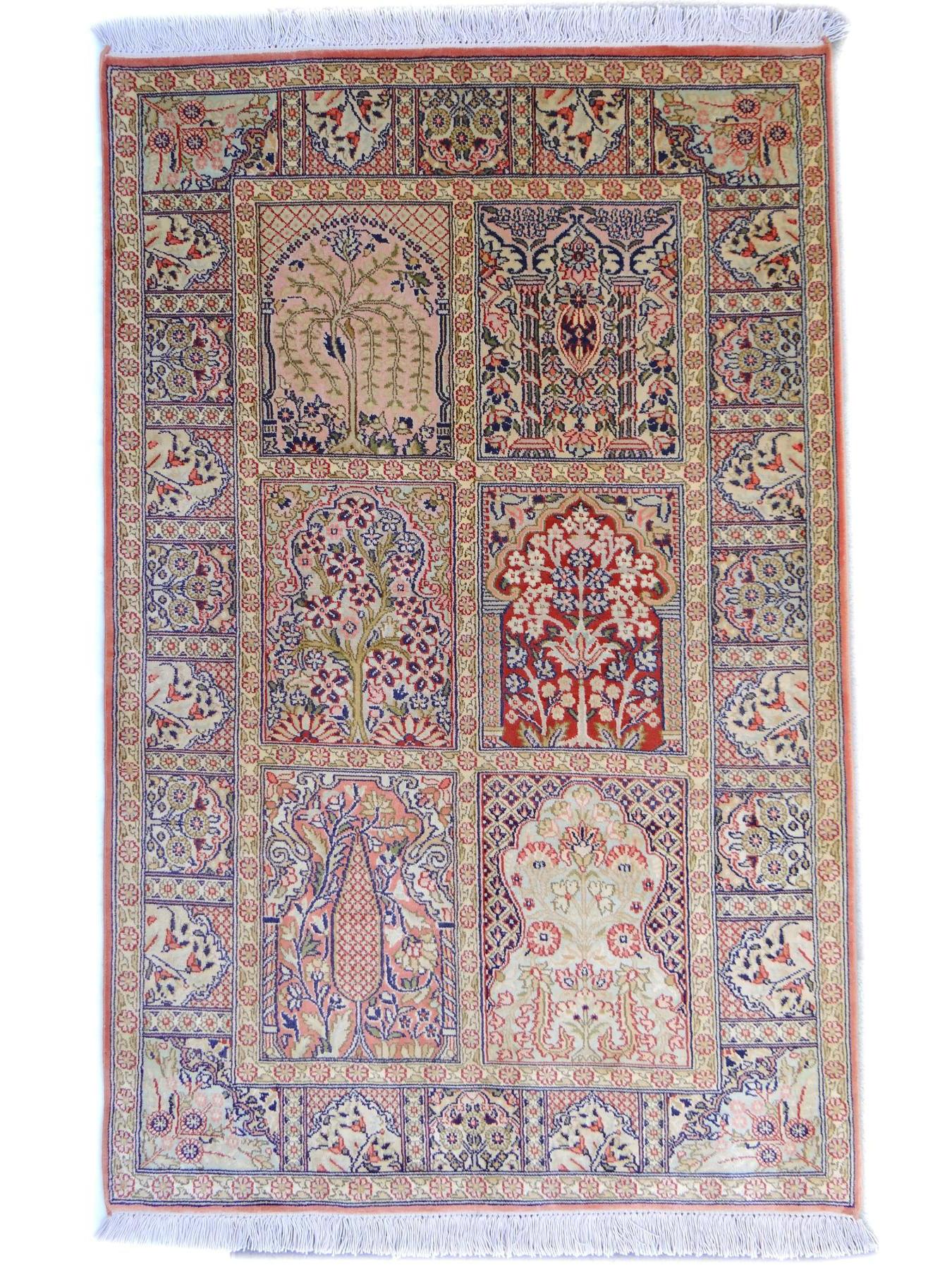 Srinagar Soie Fin Tapis Prestigieux N 26328 126x80cm