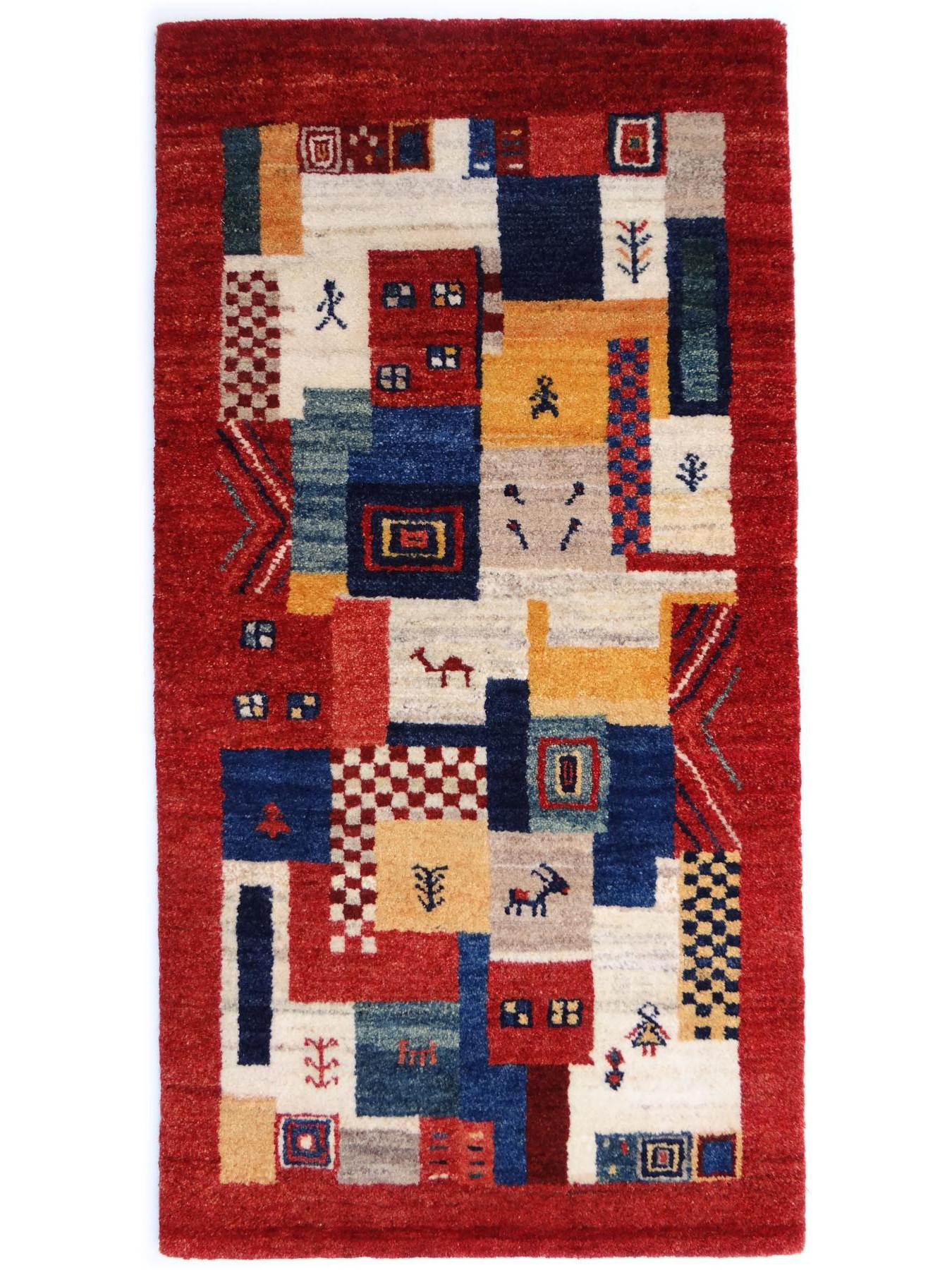 Gabbeh imanlou etnische tapijten n 29792 135x69cm - Etnische pouf ...