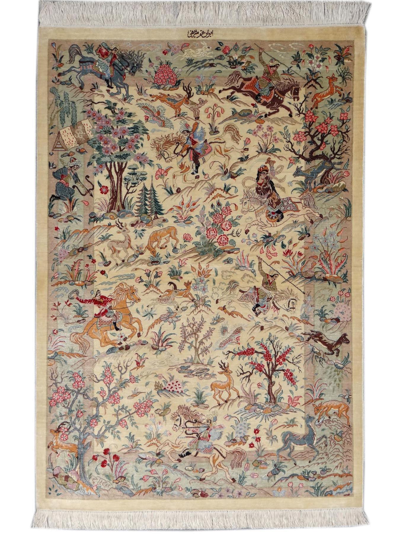 Ghoum Soie Chasse Prestigious Rugs N 32431 144x100cm