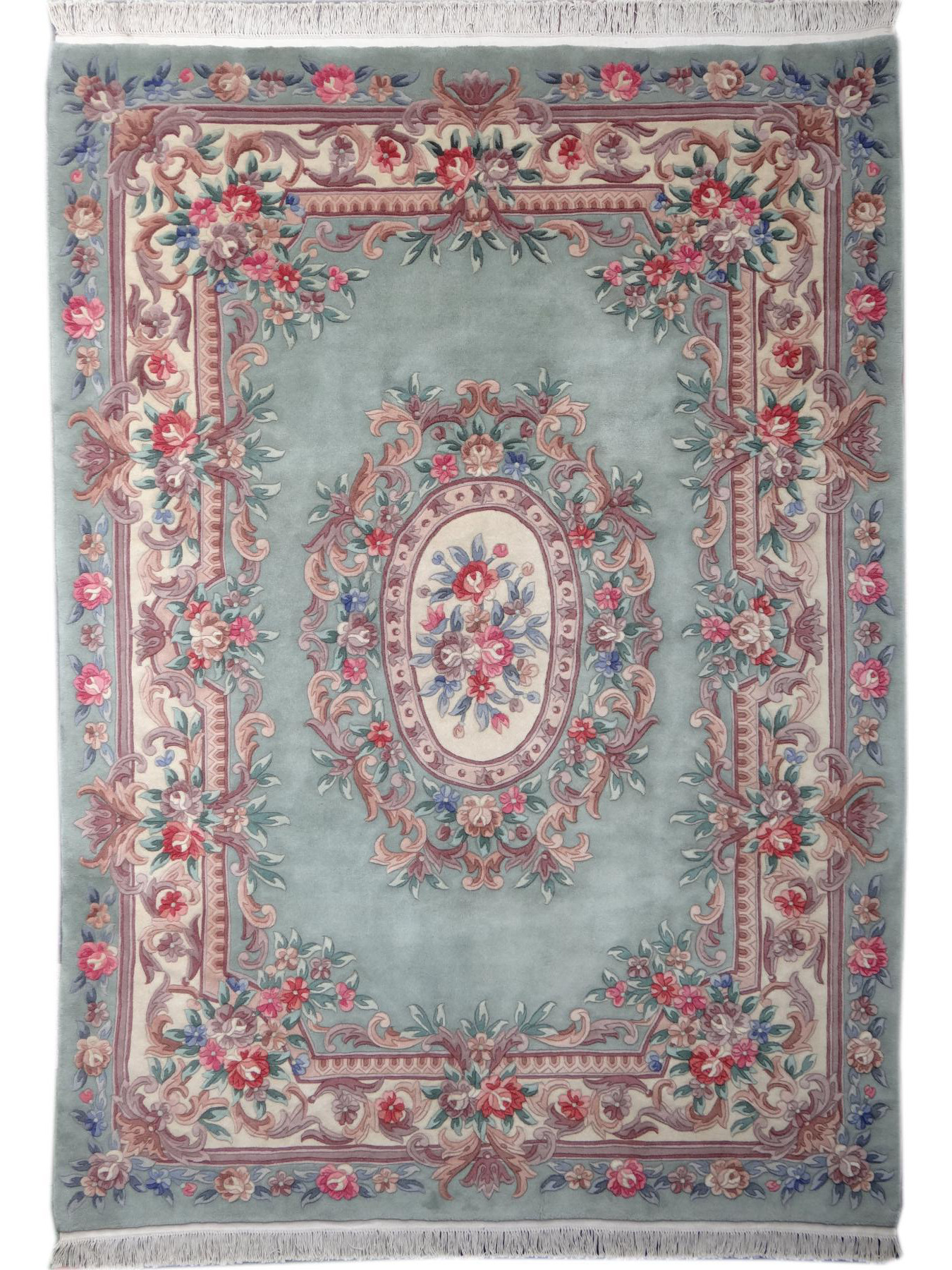 Chinese carpets - Liaoning Aubusson green